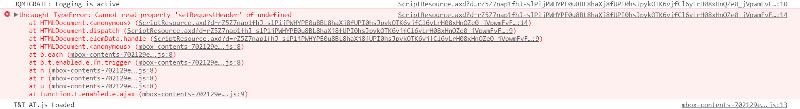 Console error output