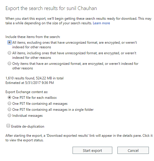 Exporting Emails to PST from Office 365 Mailbox