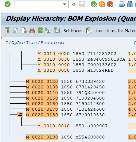 SAP R3 BOM Explosion Query