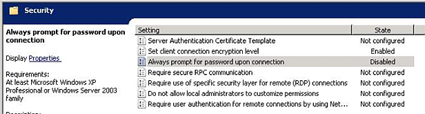 "Remote Desktop Connection, ""The server's authentication"