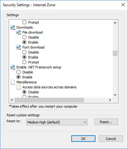 automatically download files in internet explorer 11