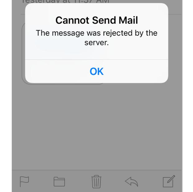 Error message on Iphone