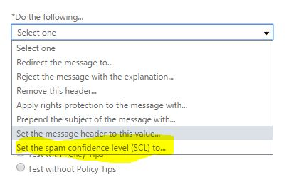 Turn off office 365 spam