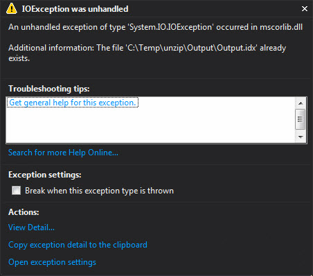 ZipFile error when trying to unzip many files