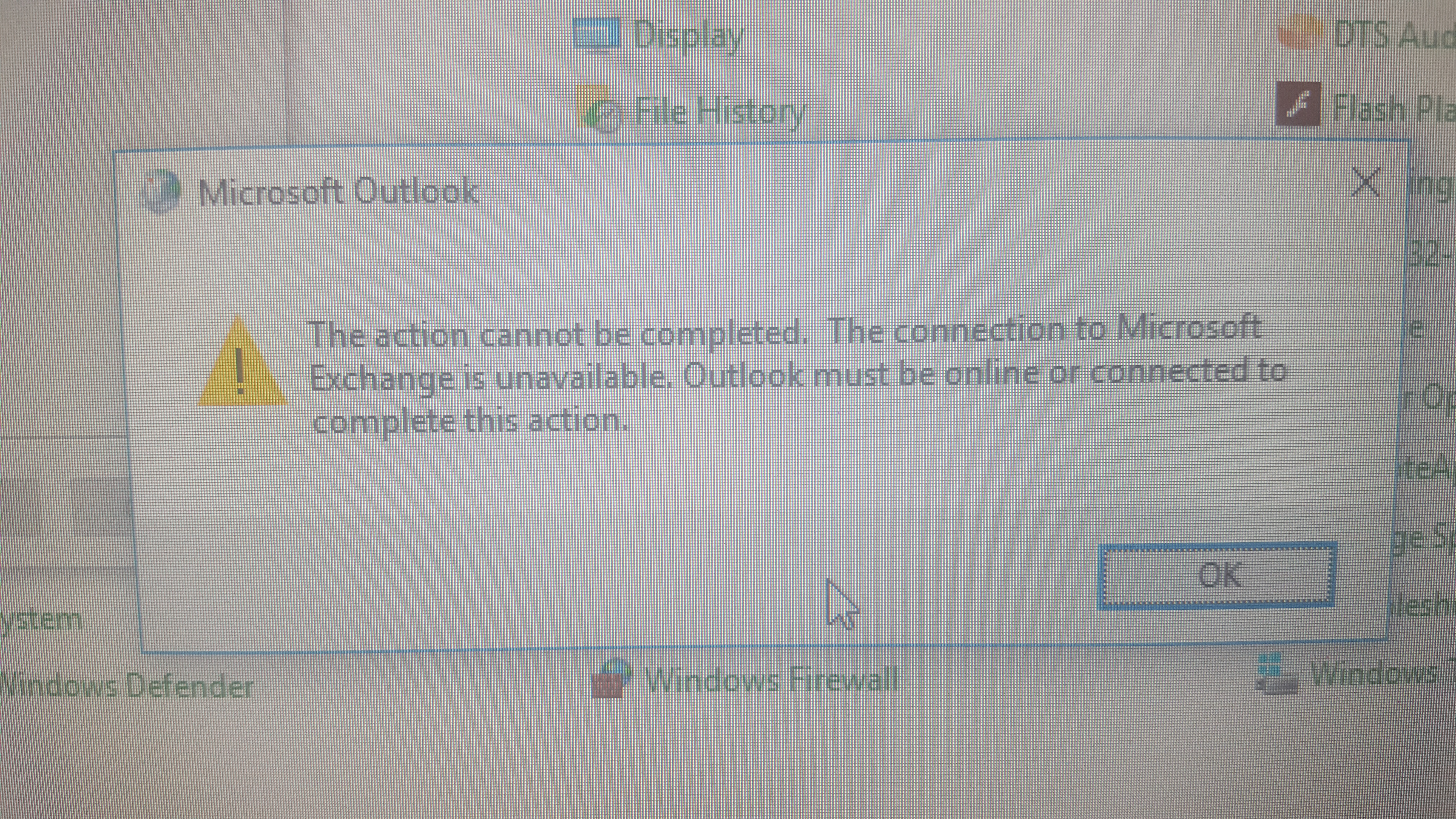 The connection to microsoft exchange is unavailable outlook must be online