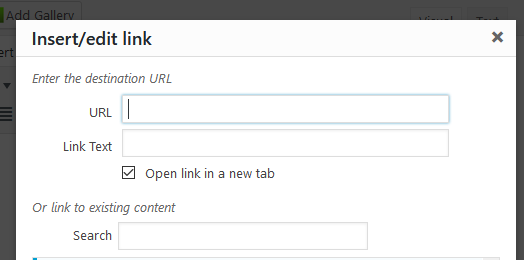 Screenshot of the box that opens when adding a link in the editor.