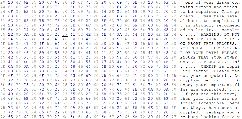 Petya Ransomware Boot Sector