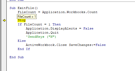 MS Excel - use VBA to close Application