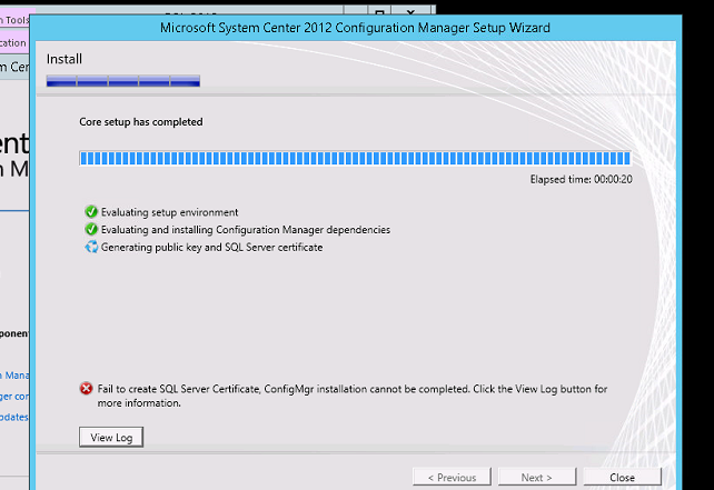 Failed to create SQL server certificate Error on SCCM installation