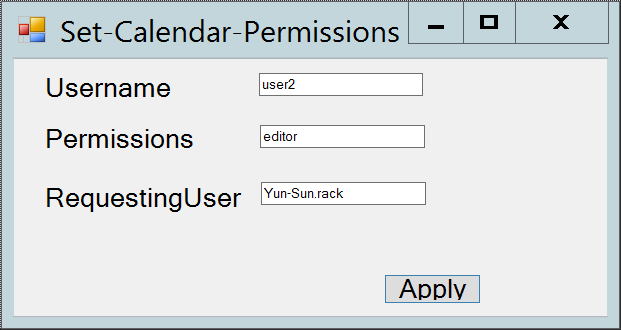 Powesell GUI for Exchange 2010 calendar permission