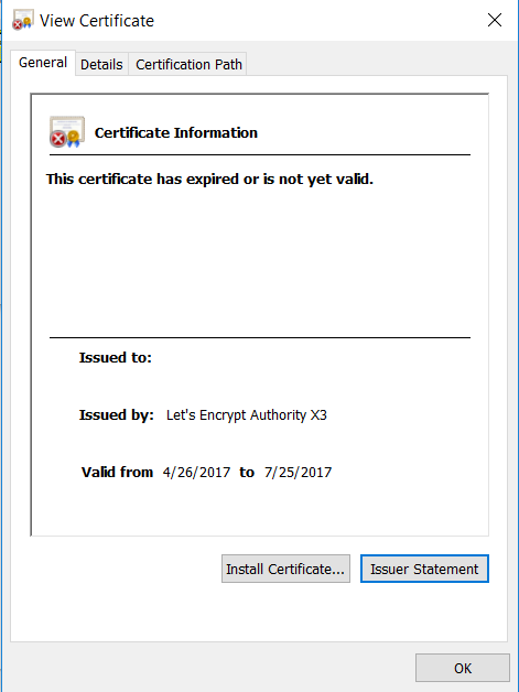 Outlook 2016 - The security certificate has expired or is not yet valid