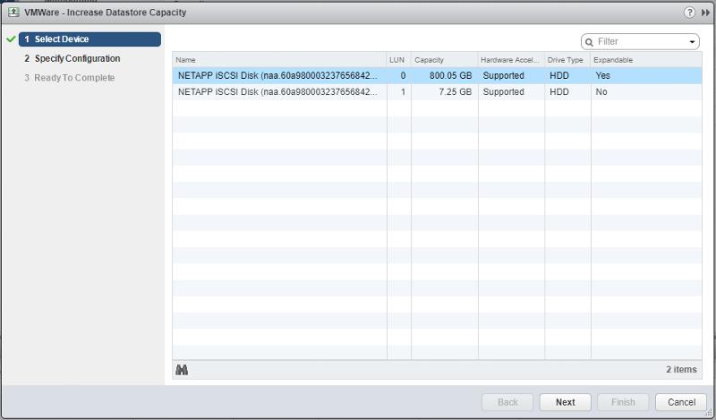 VMWare Increase Datastore Screen