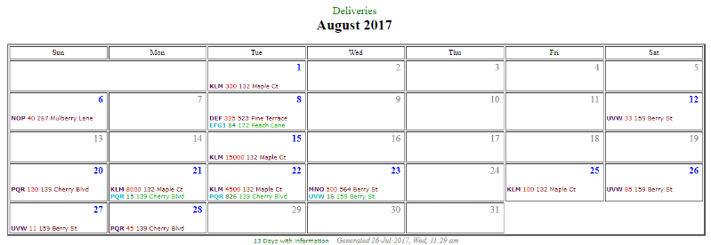Calendar Report as a web page