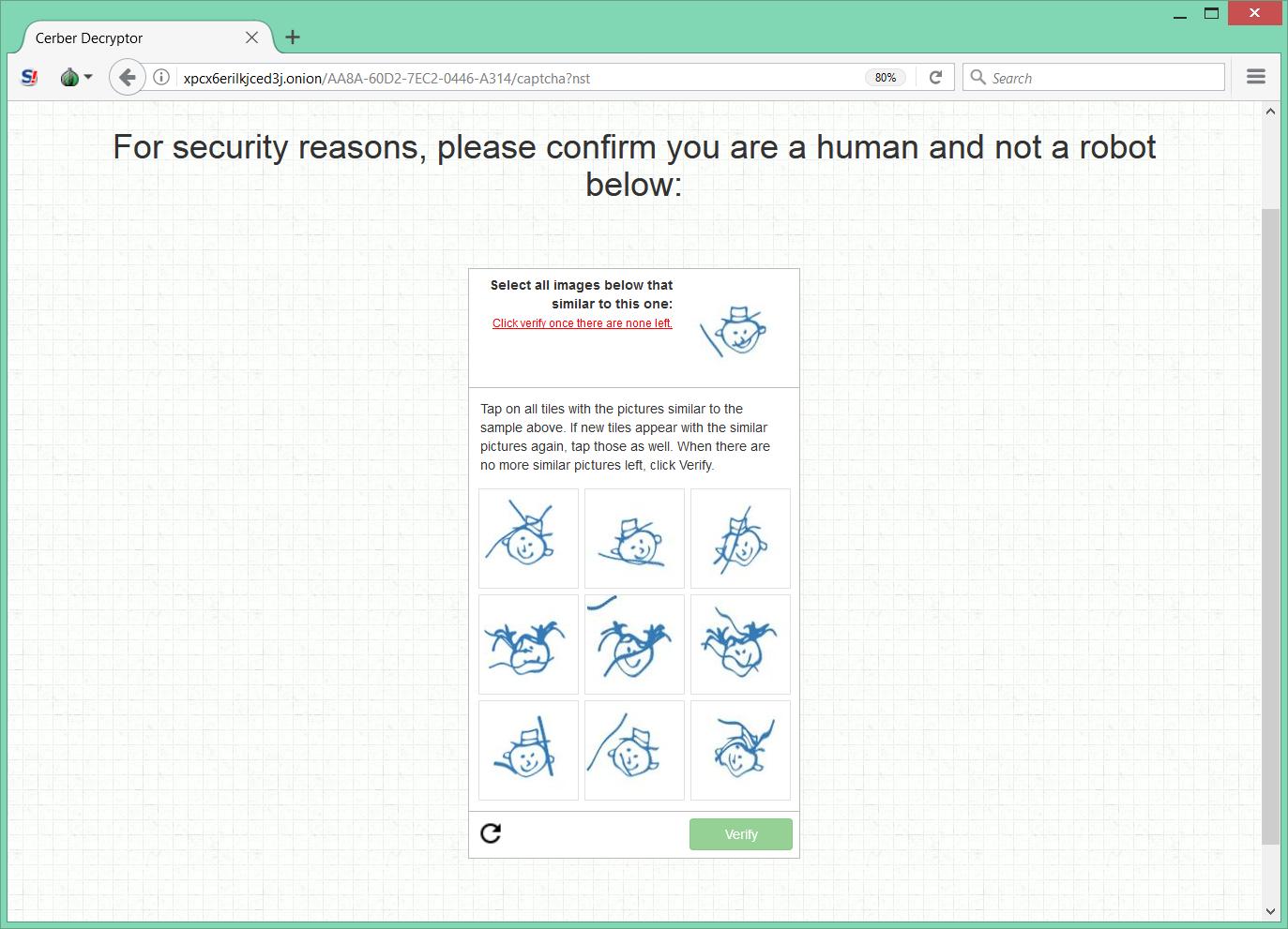 Cerber Ransomware CAPTCHA