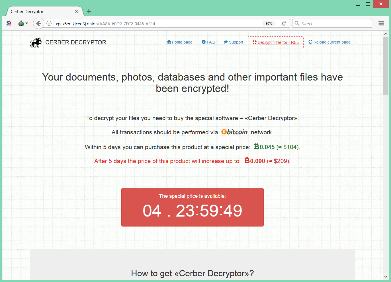 Cerber Ransomware payment