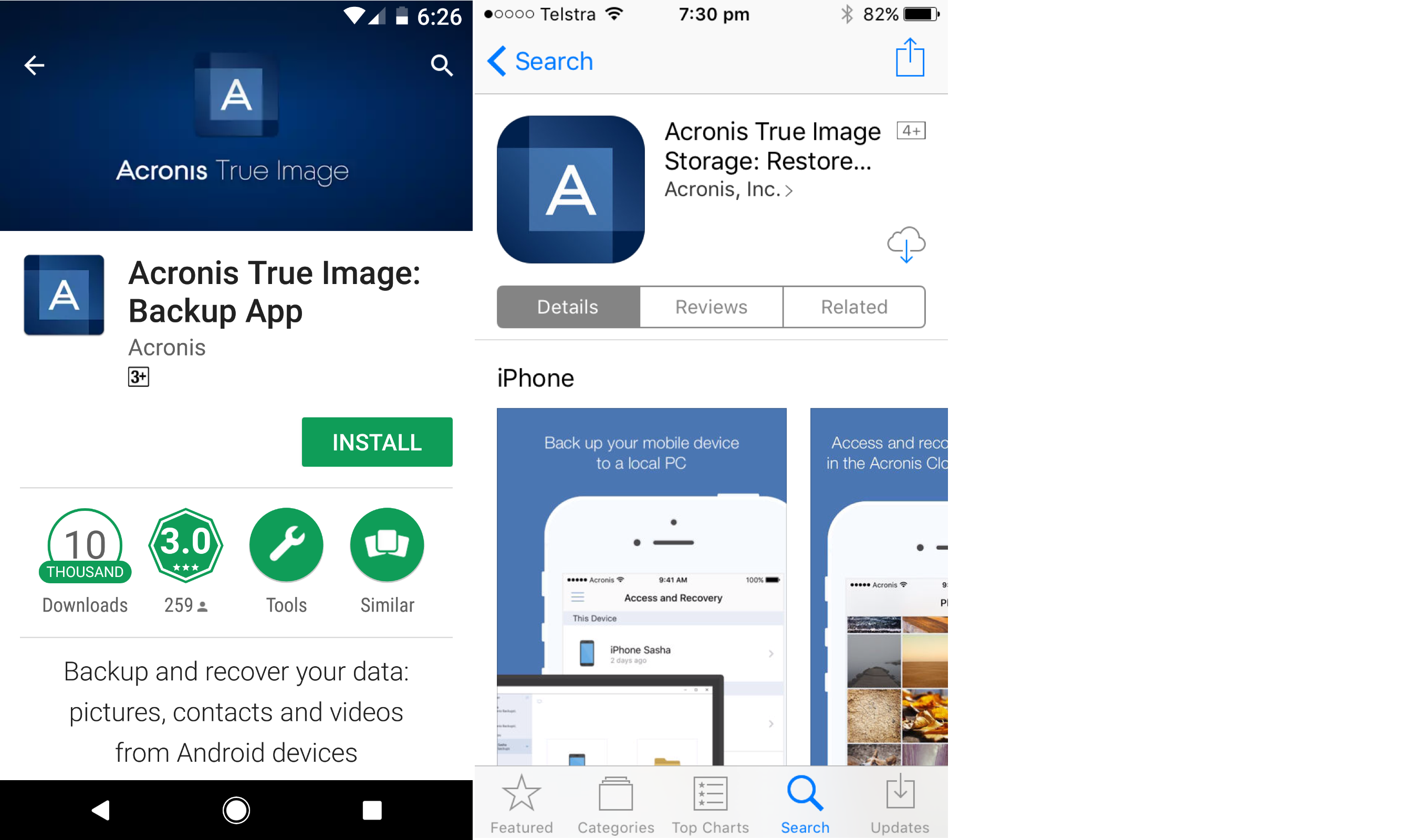 Download Acronis True Image app Android and iPhone