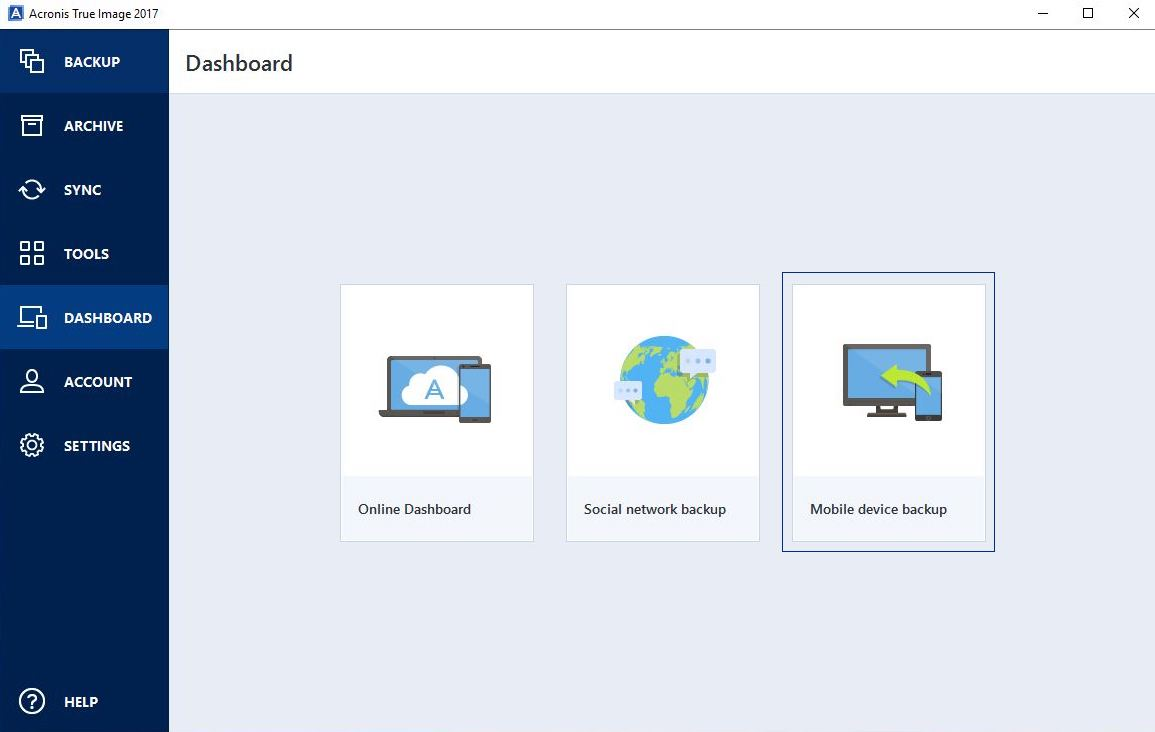Acronis True Image Dashboard