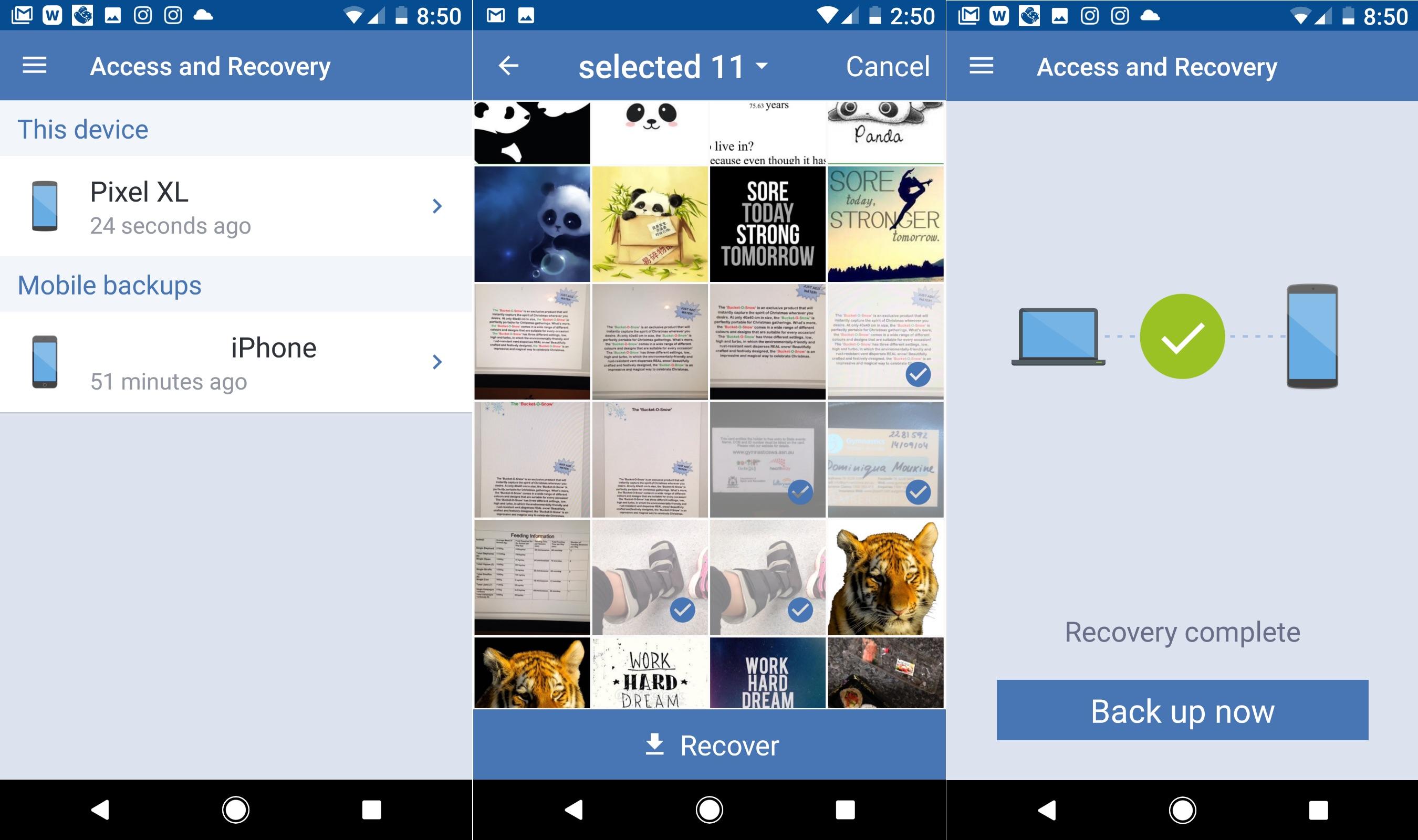 Restore smartphone Backup