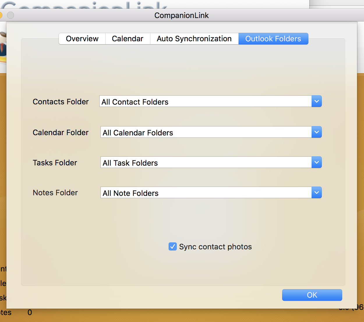 Set Mac Outlook CompanionLink to sync all Google contacts