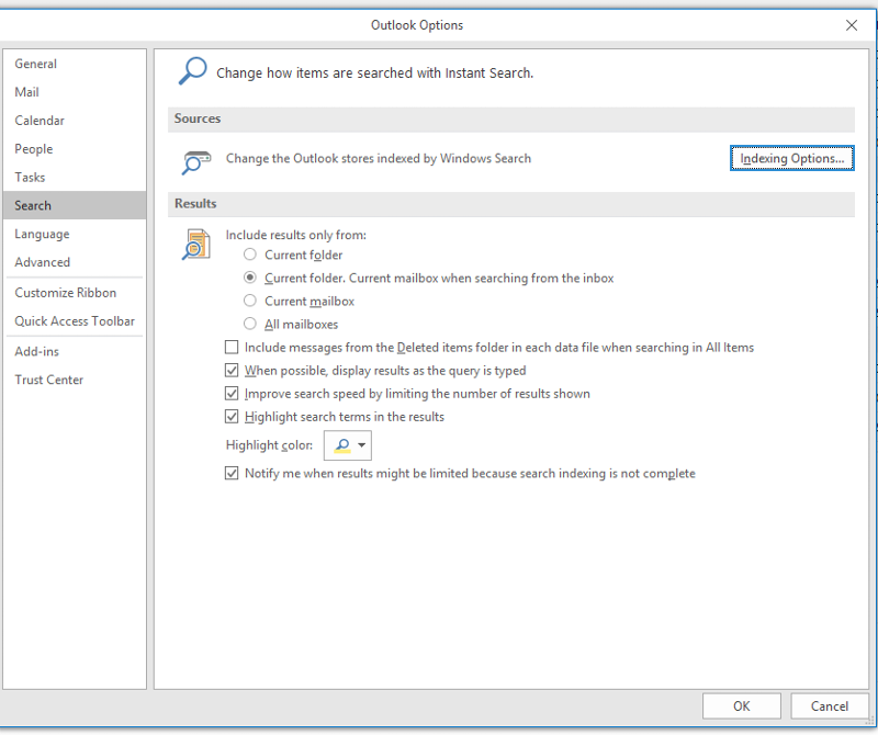 Outlook Search Option Screen