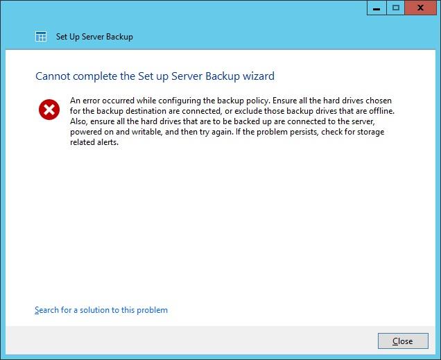 Backup Wizard error message.