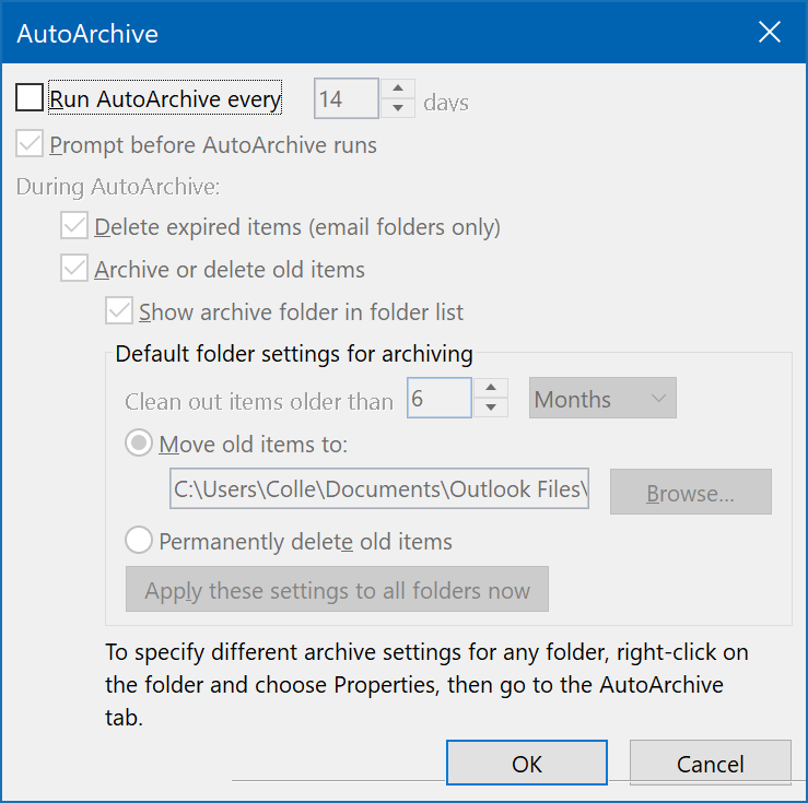 Outlook AutoArchive