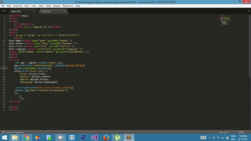 This is my main.html code