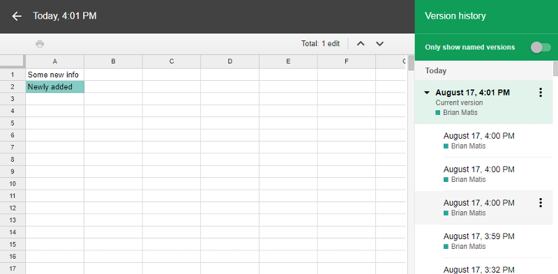 Google Sheet Version History Example