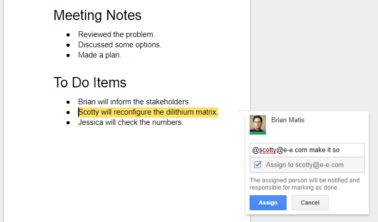 google docs assign feature