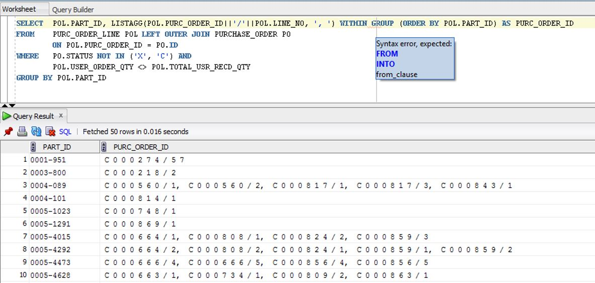 Oracle Listagg function with Crystal Report