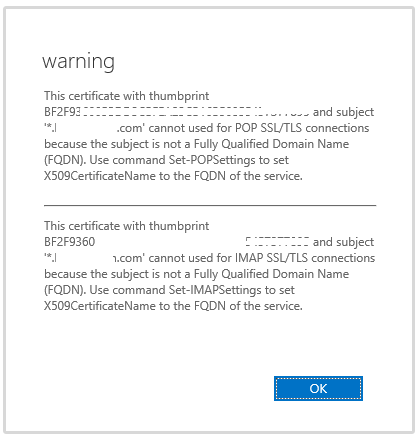Error when adding wildcard certificate to Exchange Server 2016/Win