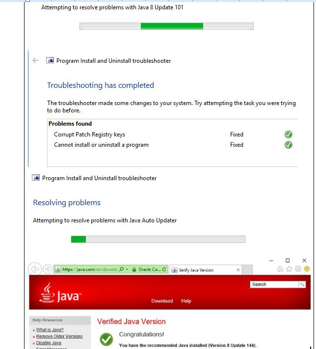 Java won't install on windows 10