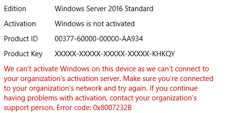 Cannot activate Windows Server 2016 Std
