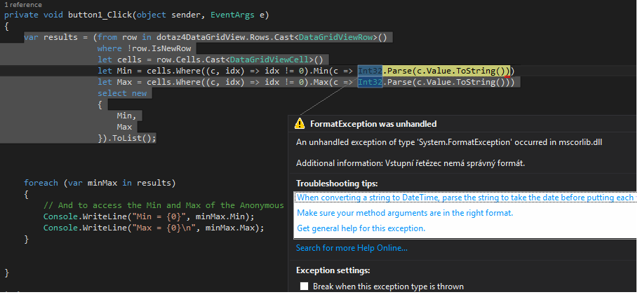 C# MIN MAX VALUE DATAGRIDVIEW ROW