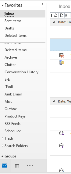 Left Outlook pane