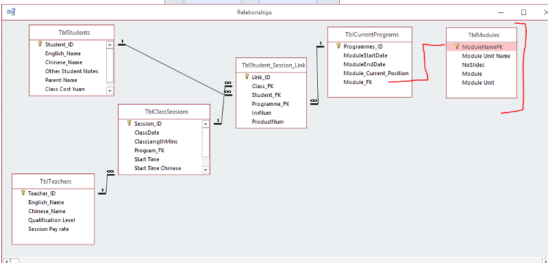 Access Db Table Relationship And Combo Box