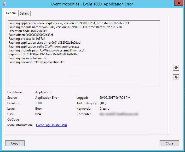 Explorer crashes ever second after user logon due to twinui.dll