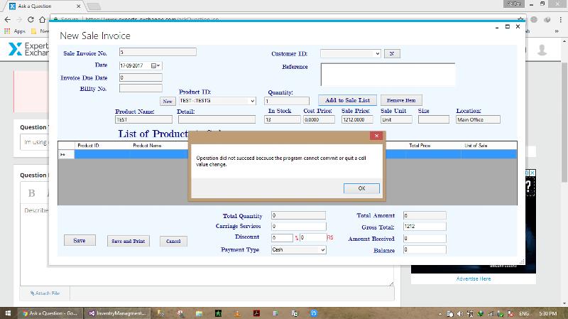 When i add new row again error occure