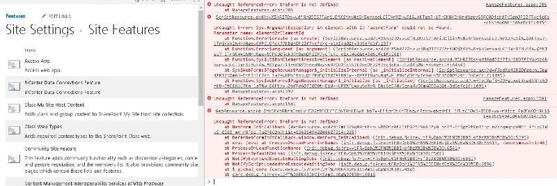 chrome console log of errors