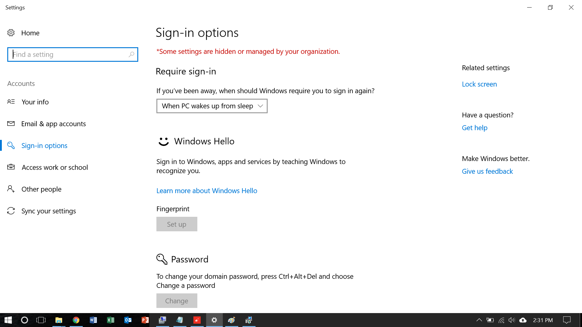 Windows logon credentials are unavailable - Finger Print Option Grayed Out