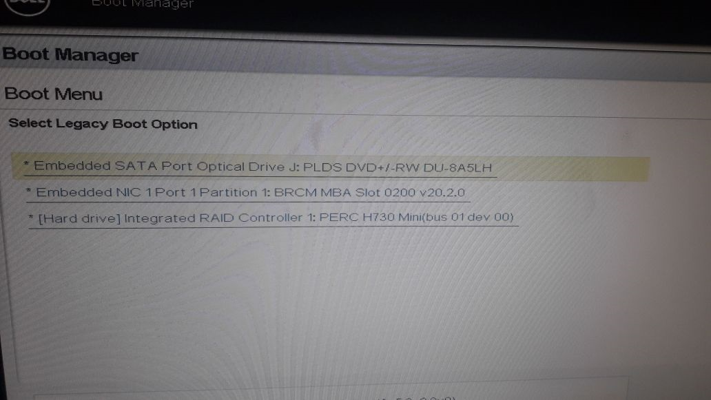 Dell PowerEdge R430 is not booting from CD/DVD and from
