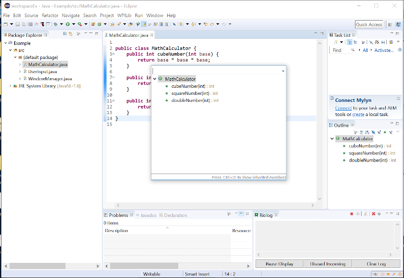 Screenshot of Eclipse when Control-O is pressed