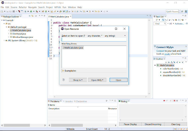 Screenshot of Eclipse when Control-Shift-R is pressed