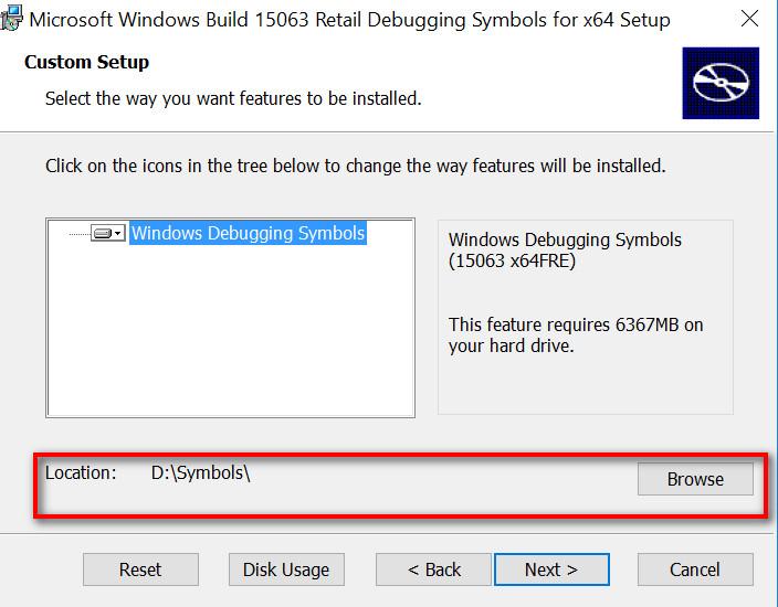 Window Symbol path for Windbg tool