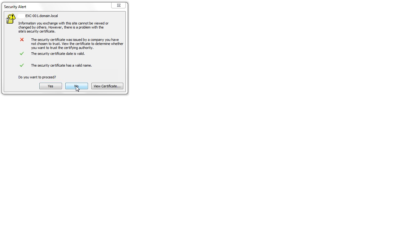 Ssl certificate security alert pops up when outlook client is ssl popupg xflitez Image collections