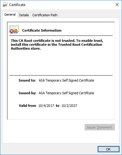 Cisco ASA 5506-X Anyconnect SSL Certificate not working