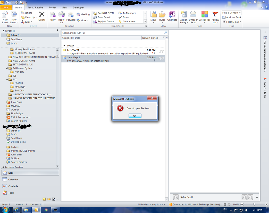 OutLook2010 cannot open this item