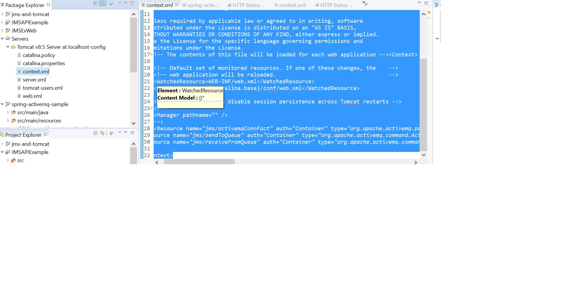jms example error