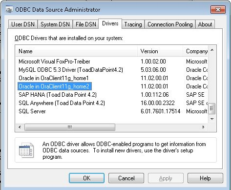 How to change macro to use Oracle driver instead of
