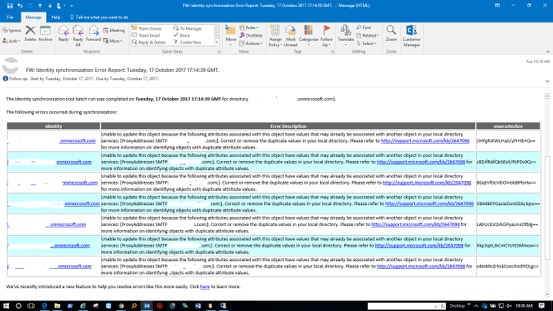 Office 365 sync errors email